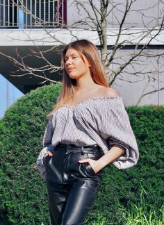 #zara Off Shoulder Blouse, Leather Pants, Zara, Closet, Tops, Women, Fashion, Leather Jogger Pants, Moda