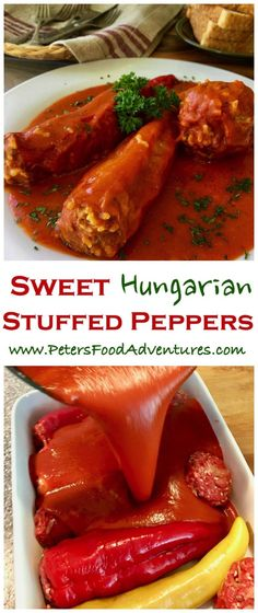 A Hungarian classic summer dish – paprika peppers with with ground beef, rice and paprika spice. Cooked in a delicious tomato passata sauce. Summer comfort food – Hungarian Stuffed Peppers (töltött paprika) Source by himawel Pasta Recipes, Beef Recipes, Chicken Recipes, Cooking Recipes, Healthy Recipes, Pepper Recipes, Healthy Soup, Baked Chicken, Eating Healthy