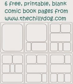 Free Printable PDF: 6 blank comic book pages for your resident artists and super hero fans