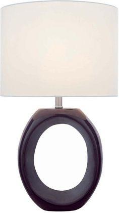 CERAMIC TABLE LAMP, COFFEE/OFF-WHITE SHD, E27 CFL 25W/3-WAY : C6H88 | Bright Light Design Center