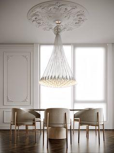 classic modern interior on Behance Luxury Dining Room, Dining Room Design, Modern Lighting, Lighting Design, Luxury Lighting, Casa Hygge, Luxury Furniture, Furniture Design, Design Hall