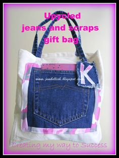 Upcycled jeans to gift bag