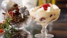 A delicious and simple Sherry Trifle. An ideal sweet treat for the festive season. Swiss Roll Tin, Toasted Almonds, Trifle, Christmas Desserts, Fresh Fruit, Real Food Recipes, Raspberry, Sweet Treats, Cobbler