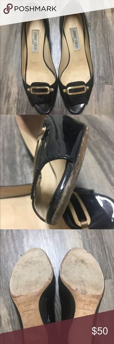 Jimmy Choo Black Patent Leather Pee Toe Pumps sz40 Preowned Jimmy Choo Black Patent Leather Pee Toe Pumps sz40. There is a defect in the which is pictured. Still in good wearable condition. The heel height is 3 inches. Jimmy Choo Shoes Heels