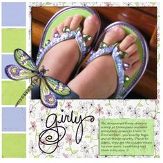 """Sweet Girl's """"Flip Flop"""" Scrapping Page...for that special pair of summer shoes, along with a journal tag...by SB."""