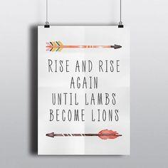 Rise And Rise Again Robin Hood Quote 8x10 Art Print by PrintAndUse