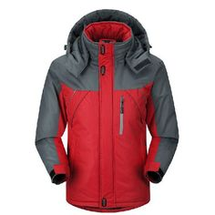 Mens Winter Detachable Hooded Jacket Windproof Water-repellent Warm Fleece Lined Coat - Gchoic.com