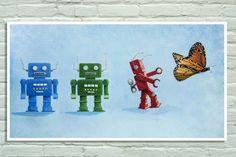 Poster with vintage toys clockwork robots and by SteGentileNerdArt, $18.00