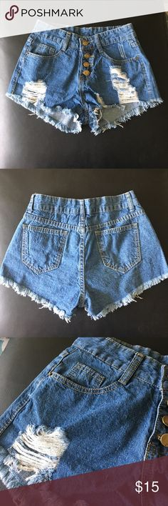 Perfect SUMMER SHORTS! High Waisted Denim Shorts These are the cutest high waisted denim cut-off shorts with gold button detailing, however they are too small for me! They are a size Small, but fit like an XS. Shorts Jean Shorts