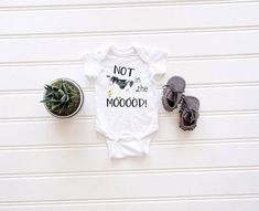 Not in the Mooood Onesie® Funny Baby Onesie® Farm Baby Newborn Onesies, Baby Onesie, Bringing Baby Home, Farm Animal Birthday, Baby Cows, Take Home Outfit, First Birthday Outfits, Baby Shirts, Cute Baby Clothes