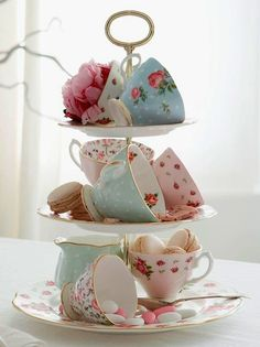 "Great way to display vintage teacups! Now I have an excuse to get the dessert stand I wanted but didn't ""need""!"