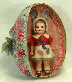 Antique Armand Marseille 323 Googly Eye Easter Doll in Egg Display C1915 | eBay
