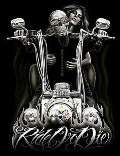 Ride or Die Biker themed Tattoo Inspiratitions. Old school vintage styled biker tattoos Biker Tattoos, Skull Tattoos, Motorcycle Art, Bike Art, Fantasy Anime, Fantasy Art, Art Moto, Art Harley Davidson, Arte Lowrider