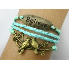 Believe & Love bird bracelet / Antique Bronze Bracelet--Wax Cords and... (€5,14) ❤ liked on Polyvore featuring jewelry, bracelets, accessories, special occasion jewelry, evening jewelry, antique pendants, antique jewellery and cord jewelry