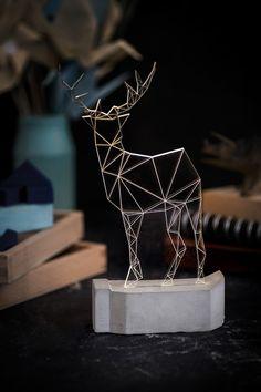 iLLuminite - Large Modern Reindeer lamp, concrete deer lamp, table lamp, deer night light, woodland decorative lamp