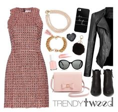 """""""Tweed/Leather - Pink/Black"""" by leinijewelry ❤ liked on Polyvore featuring dVb Victoria Beckham, Carolee, N.Y.L.A., Ted Baker, Victoria, Victoria Beckham, Casetify, Essie, Chantecaille, women's clothing and women"""