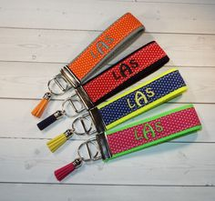 Key FOB / KeyChain / Wristlet   3 initial monogram on by Laa766  preppy / fabric / cute / patterns / key chain / office, nurse, student id, badge / key leash / gifts / key ring / design your own