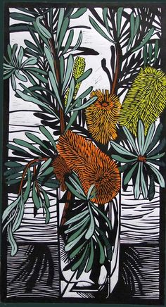 "Gail Kellett - ""Banksia Marginata"" - Linocut   #banksia #bottlebrush"
