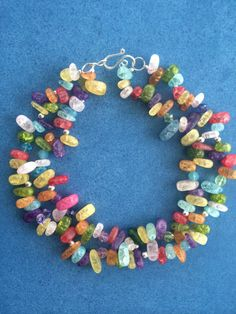multicolored 2 strand crackle glass bead necklace by NeckCandyLove