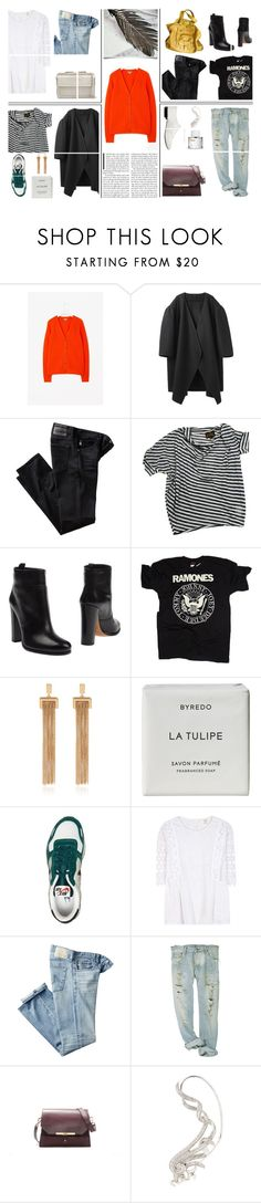 """One piece = Four outfits - Tangerine Cardigan"" by kelly-m-o ❤ liked on Polyvore featuring A Détacher, AG Adriano Goldschmied, Vivienne Westwood, Prada, Jérôme Dreyfuss, Chloé, Byredo, NIKE, Vanessa Bruno Athé and Zara"