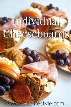 Individual Cheeseboards are the Insta-worthy snack for anytime of the week! Create small plates of cheese fruit crackers and meats and enjoy the company of others. Charcuterie Plate, Charcuterie And Cheese Board, Cheese Boards, Meat And Cheese, Cheese Fruit, Wine Cheese, Cheese Types, Individual Appetizers, Mini Appetizers
