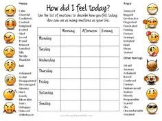 Free Printable Charts . . . List of feelings | Feeling Faces ...