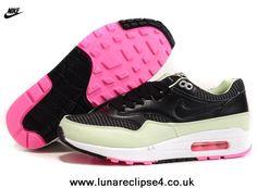 check out e99e9 3c492 en ligne 2014 Hommes Nike Air Max 1 87 Running Chaussures Noir Vert Sport,  Nike