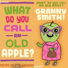 What do you call an old apple? Cute Puns, Funny Puns, Haha Funny, Funny Stuff, Corny Jokes, Funny Jokes For Kids, Summer Jokes, Morning Jokes, Food Jokes
