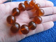 Natural Baltic amber 29 gr bracelet cognac polished round beads 琥珀 USSR gems #HandMade