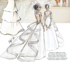 Oleg Cassini wedding gown design. Romantic ruffled tiers look most elegant and ethereal when paired with a full length skirt, which tempers their volume by extending the vision of shimmering organza gracefully to the floor.