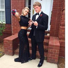 Love this! She looks amazing in her black two piece prom dress.