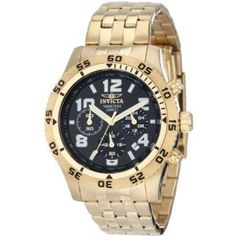 Invicta Men's 1491 Chronograph Black Dial 18k Gold Ion-Plated Stainless Steel Watch (Watch)  #invicta