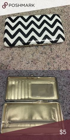 Snap wallet Chevron black and white print. Gold interior. Snap close. 6 card slots and ID window. Zip coin slot. Two long pouches. 7in by 3 3/4in. Mossimo Supply Co Bags Wallets