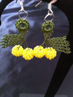 Needle lace Lemon Oya Earrings by CouchCrochetCrumbs on Etsy, $10.50