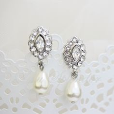 Bridal Earrings Swarovski Crystal Pearl Earrings  Small Wedding Earrings Vintage Style Wedding jewelry MAE DROP