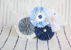 NAUTICAL BLUE FLOWERS AND YO YOS BABY HEADBAND LITTLE BY SAIDONIA, $10.00