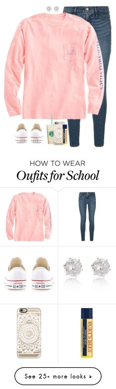 """no school today!! -elizabeth"" by pearlwearinpreps on Polyvore featuring Frame Denim, Vineyard Vines, Converse, Casetify, Burt's Bees, River Island, women's clothing, women, female and woman"