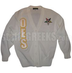OES CARDIGAN WITH LETTERS AND FATAL STAR, WHITE  Item Id: PRE-CSR-OES-STAR_LTR_WHT    Price: $129.00