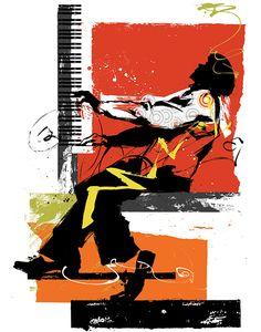 Poster art for the JVC Jazz Festival Jazz Art, Jazz Music, Music Illustration, Photo Illustration, Jazz Poster, Music Flyer, Jazz Club, Jazz Festival, Cecile
