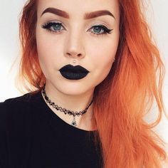 "Sanna Palm ? on Instagram: ""I love wearing black lipstick?? #makeup... ❤ liked on Polyvore featuring beauty products, makeup, lip makeup, lipstick and black lipstick"