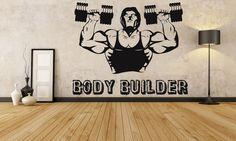 Removable Wall Room Decor Art Vinyl Sticker Mural Decal Sport Muscles Gym Fitness Bodybuilding Logo Dumbbells Iron Rush Workout Cross F1178