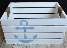 DIY Distressed Nautical Crate - The Girl Creative- maybe with a surf board for Jace's bedroom toys