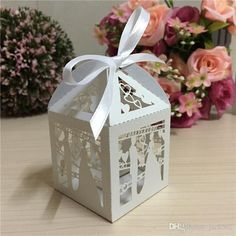 Blue Personalized Wedding Bonbonniere White Candy Box With Satin Ribbon Bow And Custom Names Wh Donna S Wed Ideas Pinterest Favors