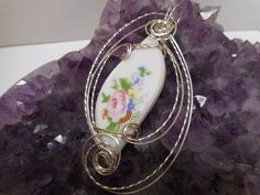Porcelain & .925 Sterling Silver wire sculpted pendant by NancysDesigns4you on Etsy