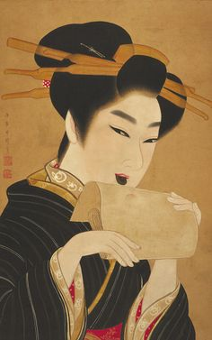 Kuchibeni  1801-1804    Gion Seitoku , (Japanese, ?-1827)   Edo period     Ink and color on paper; wood/lacquer jiku  H: 63.7 W: 41.1 cm   Japan