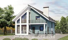 170-006-П Проект двухэтажного дома с мансардой, бюджетный коттедж из блока