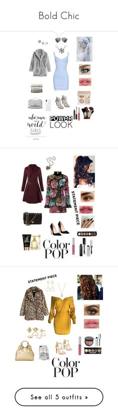 """Bold Chic"" by treasureclarke ❤ liked on Polyvore featuring Millie Mackintosh, Christian Louboutin, Forever 21, Juicy Couture, Marc Jacobs, Bobbi Brown Cosmetics, Chanel, statementcoats, WithChic and Jessica Simpson"