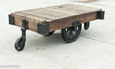 Original Vintage Industrial Factory Cart Coffee Table - 48L x 27w x 16.5t - furniture salvaged repurposed weathered rustic in stock. $750.00, via Etsy.