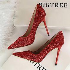 Women Pumps Fashion High Heels Wedding Party Bling Women Heels Glitter Female  Pumps Shoes Woman Red Gold Sliver Stiletto 9219-1 dbd009226125