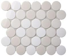 Cookie Circle Ceramic Mosaic Light Ice Crackle Mix 298x264.5mm #tiles #mosaic #walltiles #homedecor #interiordesign #circlemosaic #pennyroundmosaic